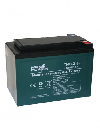 Baterías 12 V 65 Ah en Gel Descarga Profunda