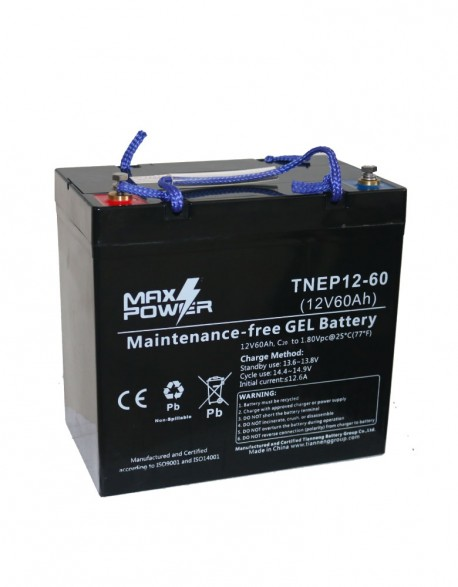 Baterías 12 V 60 Ah en Gel Descarga Profunda